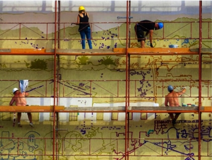 construction workers standing on scaffolding